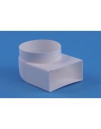 Kunststof ventilatiekanaal Overgangstuk haaks Ø 100mm > 110x54mm inw.