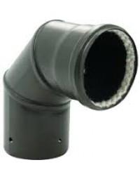 Kachelpijp Zwart emaille Ø 100 mm bocht 90° met glasvezelring