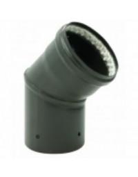 Kachelpijp Zwart emaille Ø 100 mm bocht 45° met glasvezelring