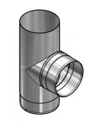 Blank RVS Ø 200 mm T-Stuk 90°