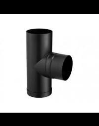 Kachelpijp Zwart  Ø 125 mm T-stuk + Dop