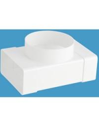Kunststof ventilatiekanaal T-stuk 110x54mm > Ø 100 mm