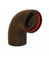 Zwart RVS Ø 80 mm bocht 90° + ring