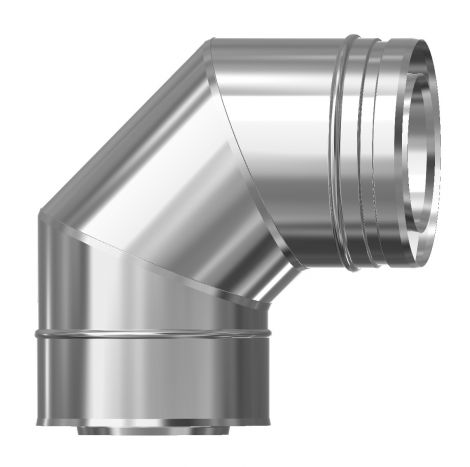 Concentrisch CFS RVS/RVS Ø 80/130 mm bocht 90°