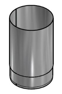 Kachelpijp Blank RVS Ø 125 mm Pijp L = 250 mm