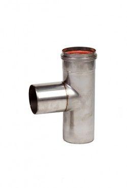 RVS blank Ø 100 mm T-stuk 90°