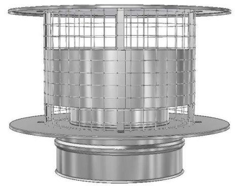 RVS Ø 125 mm trekkende kap met vonkengaas