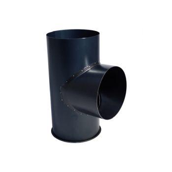 Kachelpijp Zwart Ø 131 mm T-stuk met Dop