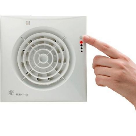 S&P Toilet / Badkamerventilator Silent 100  CHZ Visual Timer + Vochtsensor