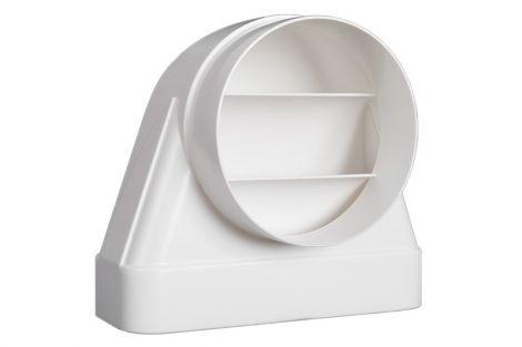 Kunststof Kanaal Overgangsstuk haaks Eco+ Ø 125 - 169x77 mm