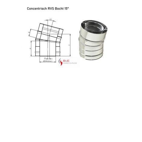 Concentrisch RVS Ø 100/150 mm Bocht 15°