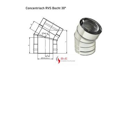 Concentrisch RVS Ø 100/150 mm Bocht 30°