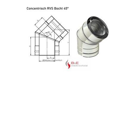 Concentrisch RVS Ø 130/200 mm Bocht 45°