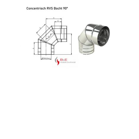 Concentrisch RVS Ø 130/200 mm Bocht 90°