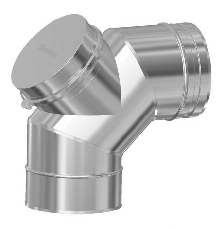 Concentrisch CFS RVS/RVS Ø 130/200 mm bocht 90° +  inspectieluik