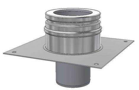 ICS 25 RVS Ø 130/180 mm bodembevestigingsplaat DW/EW