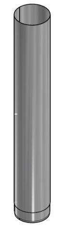 Kachelpijp Blank RVS Ø 125 mm Pijp L = 1000 mm