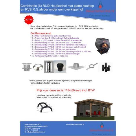 Combinatie (6) RUD met platte kooktop 9 kW + RVS RGA Ø 125/130mm