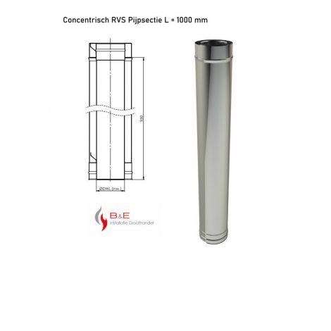 Concentrisch RVS Ø 130/200 mm Pijpsectie L = 1000 mm