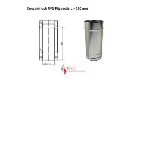 Concentrisch RVS Ø 130/200 mm Pijpsectie L = 330 mm