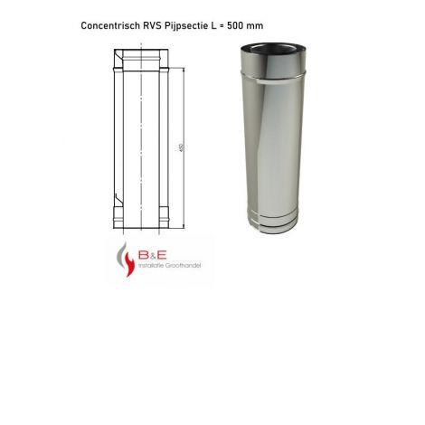 Concentrisch RVS Ø 100/150 mm Pijpsectie L = 500 mm