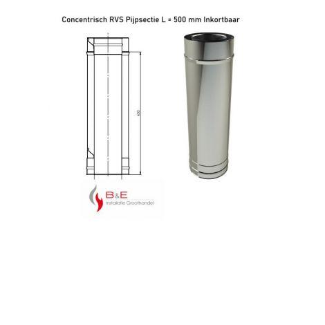 Concentrisch RVS Ø 130/200 mm Pijpsectie L = 500 mm Inkortbaar