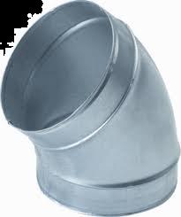 Spiralo gladde bocht 45°  Ø 200 mm