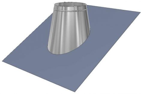 Concentrisch CFS RVS Ø 130/200 mm loodslab 45°-60°