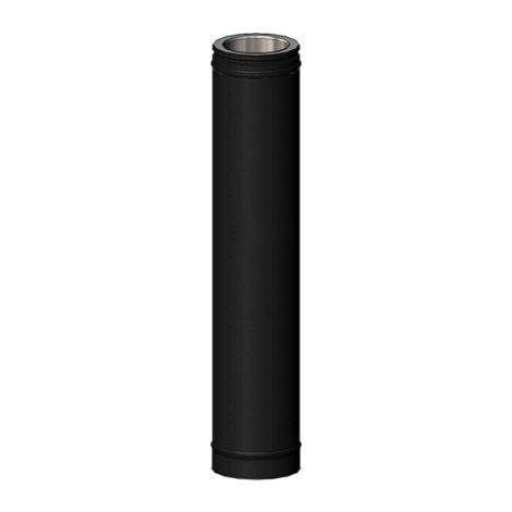 Kachelpijp DW ICS 25 RVS 150/200 pijp L = 1000 mm zwart