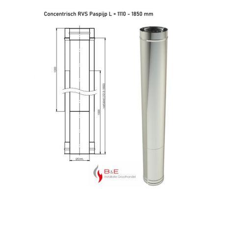 Concentrisch RVS Ø 100/150 mm Paspijp L = 1110 - 1850 mm