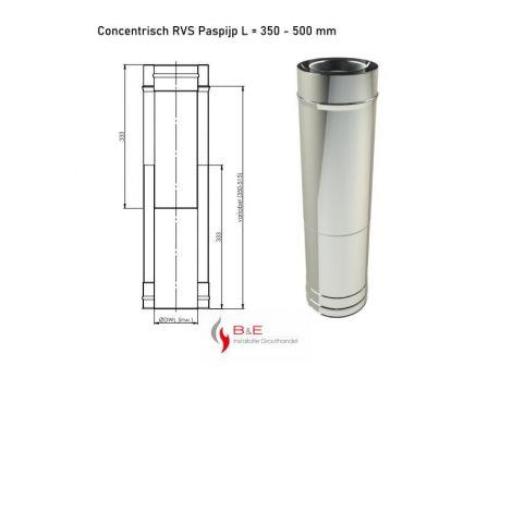 Concentrisch RVS Ø 130/200 mm Paspijp L = 350 - 500 mm