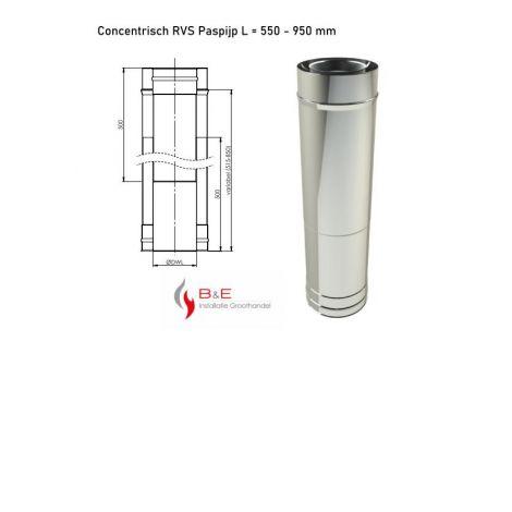 Concentrisch RVS Ø 130/200 mm Paspijp L = 550 - 950 mm