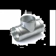 Spiralo geperst T-stuk 90° Ø 150 mm spruit Ø 125 mm