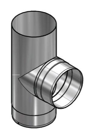 Kachelpijp Blank RVS Ø 125 mm T-Stuk 90°