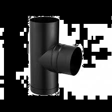 Kachelpijp Zwart Ø 125 mm T-stuk met Dop