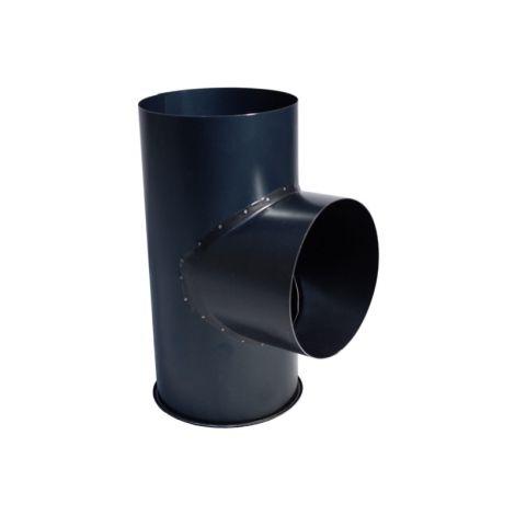 Kachelpijp Zwart Ø 111 mm T-stuk met Dop